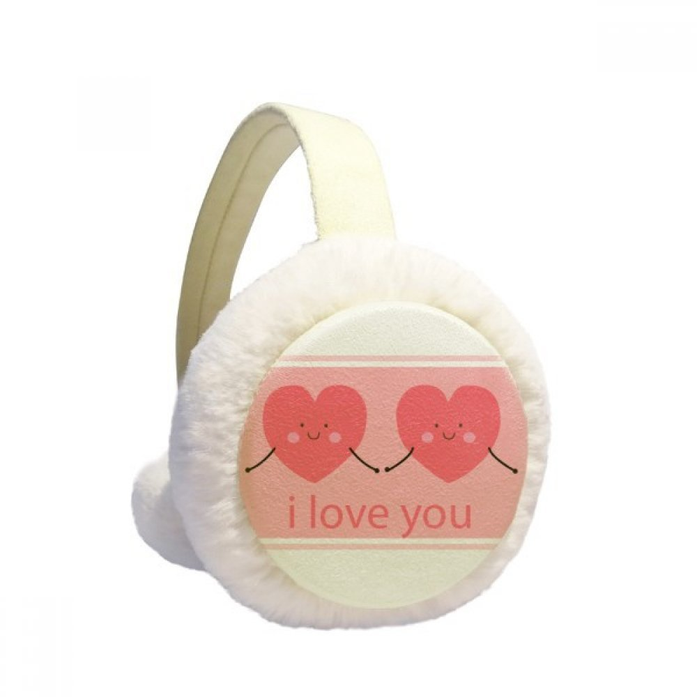 Valentines Day Pink Cute Smile Face Hearts Winter Earmuffs Ear Warmers Faux Fur Foldable Plush Outdoor Gift