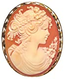 Summer Dream, Cameo Pin Pendant Carnelian Shell Italian 18k Gold Master Carved