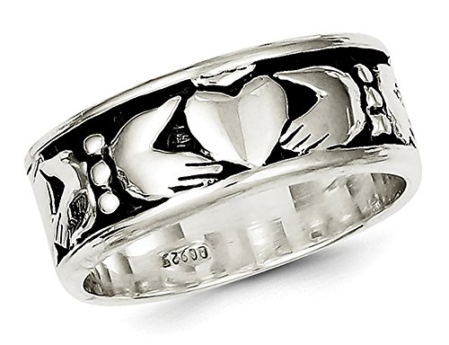 Mens Claddagh Ring in Sterling Silver