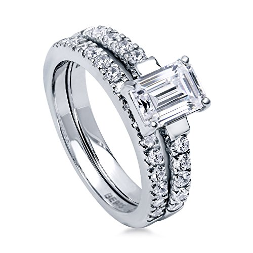 BERRICLE Rhodium Plated Sterling Silver Cubic Zirconia CZ Solitaire Engagement Ring Set Size 6