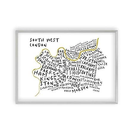 South West London Map.Blim Blum South West London Typography Map Print Amazon Co Uk
