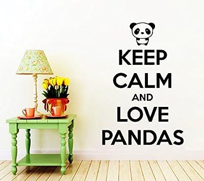 Wall Decals Keep Calm and Love Pandas Quote Decal Vinyl Sticker Home Decor Nursery Bedroom Window Decals Living Room Murals