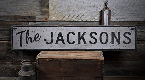 The JACKSONS - Custom JACKSON Last Name Distressed Wooden Sign - 11.25 x 60 (Jackson Usa Custom Shop)