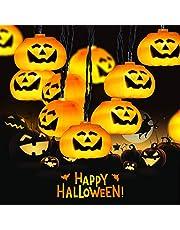 Elegear dekoracyjny łańcuch świetlny na Halloween, dynia, łańcuch świetlny 3,5 m, 20 diod LED, duży łańcuch świetlny z dyniami, latarnie, światełka dyni, na Halloween, dekoracja, akcesoria, sznur