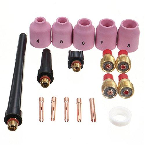 TIG Gas Lens Collet Body KIT,TIG Back Cap /& TIG Welding Torch SR WP9 20 25,18pcs