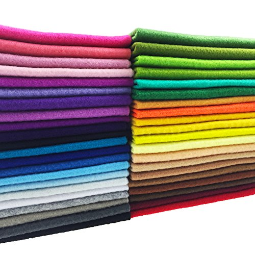 flic-flac 42pcs1.4mm Thick Soft Felt Fabric Sheet Assorted Color Felt Pack DIY Craft Sewing Squares Nonwoven Patchwork (20cm 20cm) (Quarters Woven Fat)