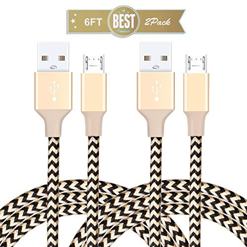 Android Phone Charger Alanda 2 Pack 6ft Micro USB Cable High Speed Durable Android Phone Cable for Samsung Nexus HTC Motorola Nokia LG Sony Blackberry Google-Gold