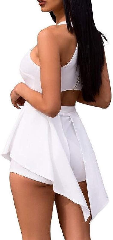 Etecredpow Womens Skinny Sleeveless Slim Halter Neck Playsuit Jumpsuits Rompers
