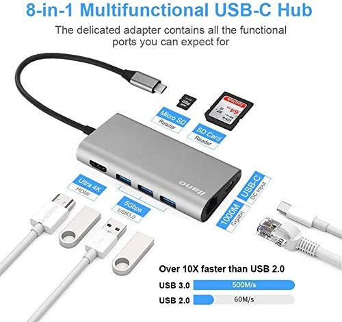 S8+Type C HUB USB Docking Station All-in-One USB-C to HDMI Card Reader RJ45 pd Adapter for MacBook Samsung Galaxy S9 //S8