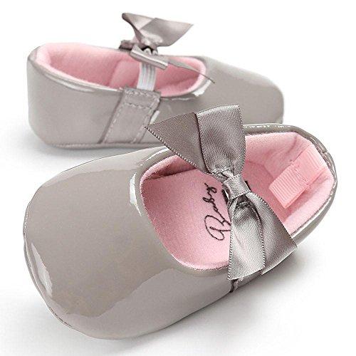 Hunpta Baby Säugling Kinder Mädchen Leder Kleinkind Neugeborene Schuhe Grau