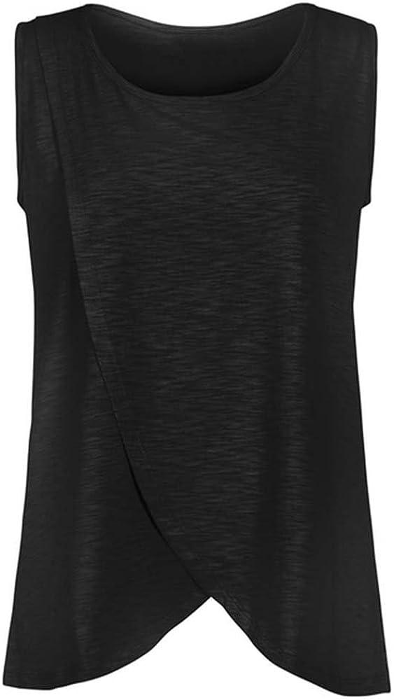 Hellomiko Stillen Krankenpflege T-Shirts Frauen Schwangerschafts-Doppelschicht-Sweatshirt Sleeveless Tops Plus Size