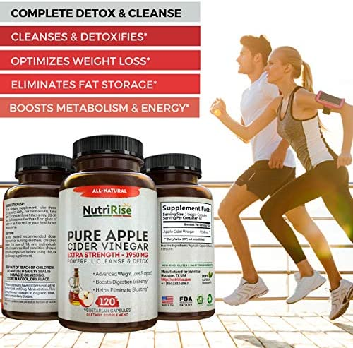 Apple Cider Vinegar Capsules for Weight Loss & Cleanse - 100% Pure Extra Strength 1950mg - 120 Natural Diet Pills for Women & Men for Bloating & Constipation Relief, Digestion & Energy Boost 7