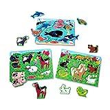 Melissa & Doug Peg Puzzle Bundle - Farm Animals, Pets and Sea Creatures