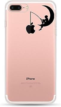 Freessom Coque iPhone X Silicone Motif Original Dessin Noir avec La Pomme Lune Transparente avec Motif Souple Anti Choc Drole Kawaii Fantaisie Ultra ...