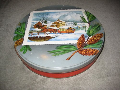 (Vintage Winter Holiday Scene Cookie Biscuit Candy Collectible 10 x 2 Inch Tin)