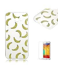 For Samsung Galaxy A5 (2017 Model)Case [with Free Screen Protector], Funyye Popular Fashion Luxury Ultra Slim Transparent Soft TPU Bumper Anti Scratch Protective Case Cover Shell for Samsung Galaxy A5 (2017 Model)-Banana