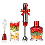 Tools & Hardware :  KOIOS Powerful 500-4-in-1 Hand Blender with 6 Speed - Red