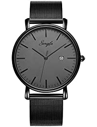 Men's Fashion Date Slim Analog Quartz Watches Grey Dial...