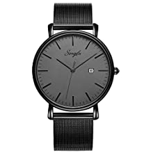 Men's Slim Analog Quartz Watch with Stainless Steel Mesh Band