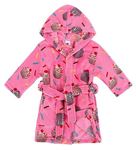 Verabella Kids Robe Bath Plush Super Soft Fleece Hooded Bathrobes Robe,Pink,XL