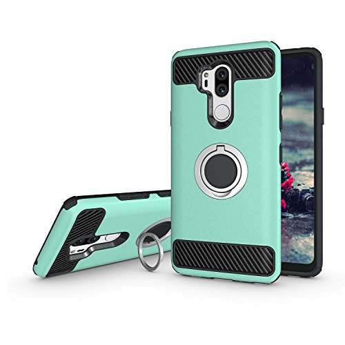 Newseego Compatible LG G7 ThinQ Case,LG G7 Case with Armor Dual Layer 2 in 1 with Extreme Heavy Duty Protection and Finger Ring Holder Kickstand Fit Magnetic Car Mount for LG G7 ThinQ -Green