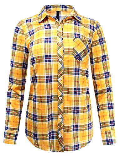 Knit Plaid Button Down Shirt Roll Up Sleeve Mustard Navy M Size