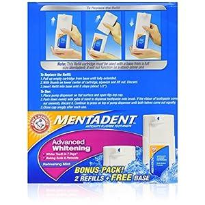 Mentadent Advance Whitening Refreshing Mint Bonus Pack Free Base & 2 Refills 5.25 OZ