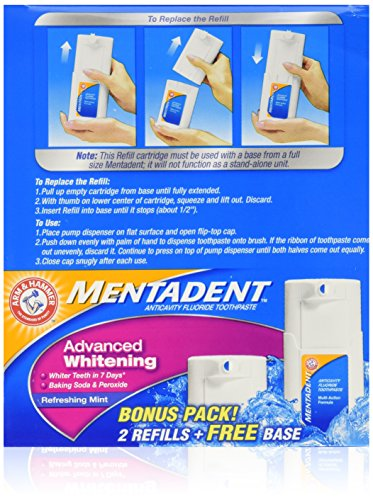 Mentadent Advance Whitening Refreshing Mint Bonus Pack Free Base & 2 Refills 5.25 OZ