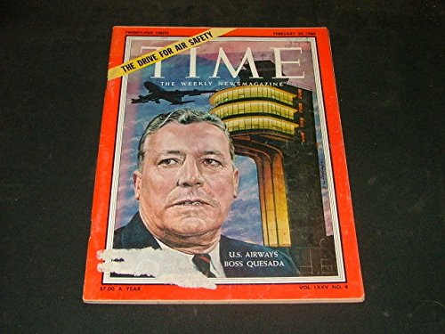 Time Feb. 22 1960 U.S. Airways Boss Quesada, Air Safety (Vintage Airway Magazine)