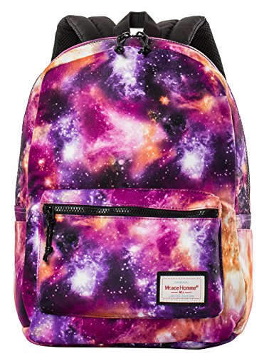 HONEYJOY Unisex Rucksack Daypack Shoulder Bag Galaxy Pattern School Backpack (403015, Purple)