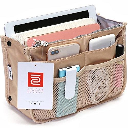iN. Multi-Pocket Handbag Organizer Insert for Tote Bag Purse Liner Insert Small Women's Handbag Organization Medium Fashionable and Practicable Folding Nylon Mesh Large Travel Pocketbook Liners Khaki