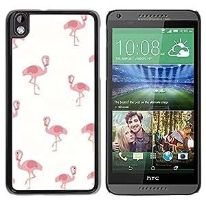 Paccase / SLIM PC / Aliminium Casa Carcasa Funda Case Cover para - Pelican Pink White Minimalist Pattern Bird - HTC DESIRE 816