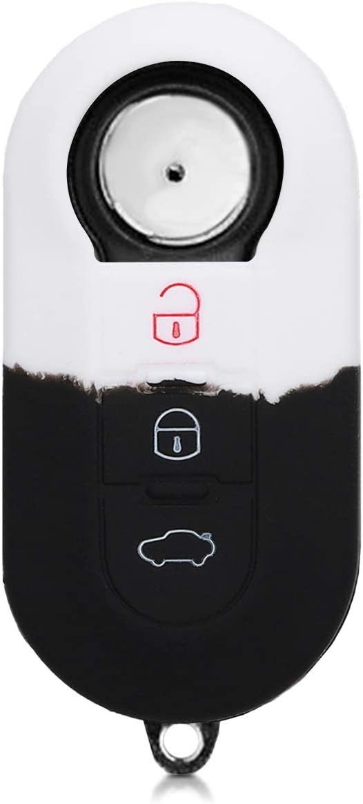 kwmobile Car Key Cover Compatible with Fiat Lancia 3 Button Car Flip Key Silicone Protective Key Fob Cover Bicolor White//Black