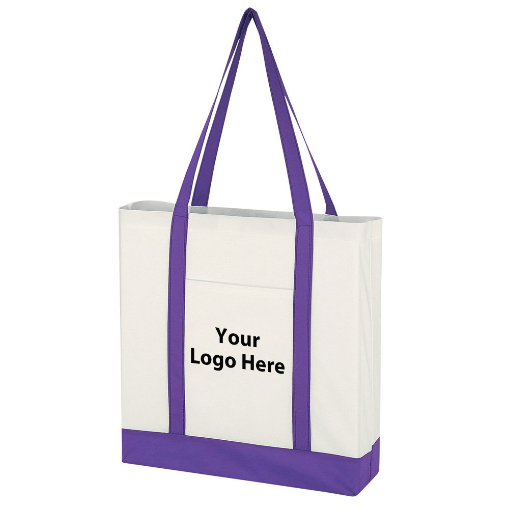 Non-Woven Tote Bag With Trim Colors - 100 Quantity - $1.95 Each - PROMOTIONAL PRODUCT/BULK/BRANDED with YOUR LOGO/CUSTOMIZED