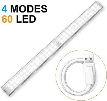 Cobiz Luz Con Sensor De Movimiento - USB Iinalámbrico Recargable, 60 Luces LED Luz Armario - 4 Modos Mejorados Luces Para Armarios - Luz Led Armario 6000k: Amazon.es: Iluminación