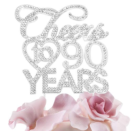 Silver Cheers to 90 Years Cake Topper