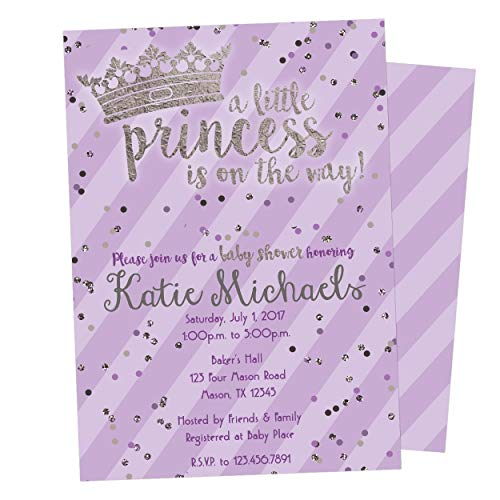 - Purple Silver Princess Baby Shower Invitations Girl Crown Tiara