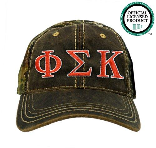 Phi Sigma Kappa (Phi Sig) Embroidered Camo Baseball Hat, Various Colors