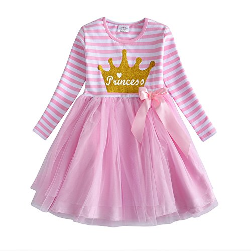 VIKITA Toddler Flower Girl Dress Winter Long Sleeve Tutu Party Dresses for Girls 3-7 Years, Knee-Length (LH4561, 6 Tall)