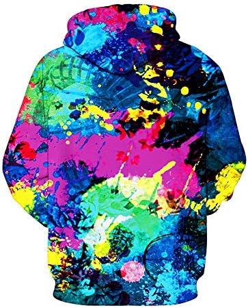 Sweatshirt Fashion Herren, Herbst und Winter Ölgemälde Tintenstrahldruck Hoodie Pullover,A,kid2