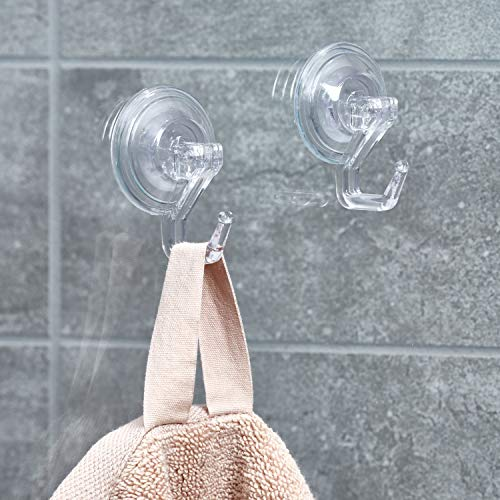 InterDesign Power Lock Bathroom Shower Plastic Suction Cup Hooks for Loofah, Towels, Sponges, and More Set of 2 Clear by InterDesign (Image #1)