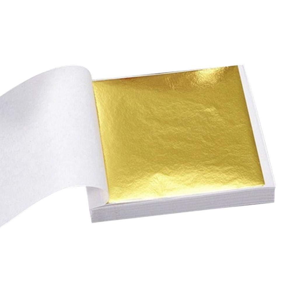 strety 100 Piezas//Paquete Imitaci/ón Pan De Oro Papel De Pan De Oro Pan De Plata Papel De Cobre Papel De Aluminio Decoraci/ón Muebles Papel De Pan De Oro 14 14 Cm Material Taiw/án Oro