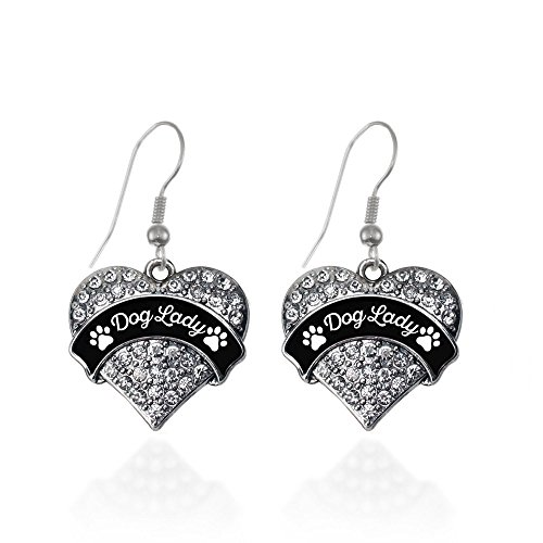Dog Lady - Paw Prints Pave Heart Earrings French Hook Clear Crystal (Dog Crystal Earrings)