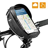 Bike Bicycle Phone Mount Bags - Waterproof Front Frame Top Tube Handlebar Bags with Touch Screen Phone Holder Case Sports Bicycle Bike Storage Bag Cycling Pack Fits iPhone 7 8 Plus xs max 6.5''