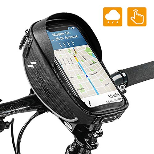Bag Mount - Bike Bicycle Phone Mount Bags - Waterproof Front Frame Top Tube Handlebar Bags with Touch Screen Phone Holder Case Sports Bicycle Bike Storage Bag Cycling Pack Fits iPhone 7 8 Plus xs max 6.5''