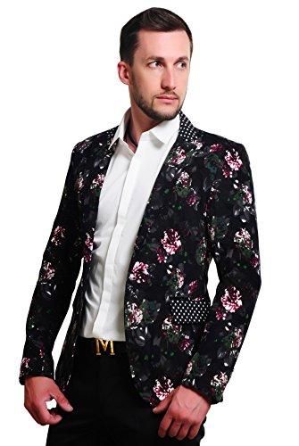 MOGU Mens 1 Button Floral Cotton Blazer Sport Coat Jacket US Size 42 -