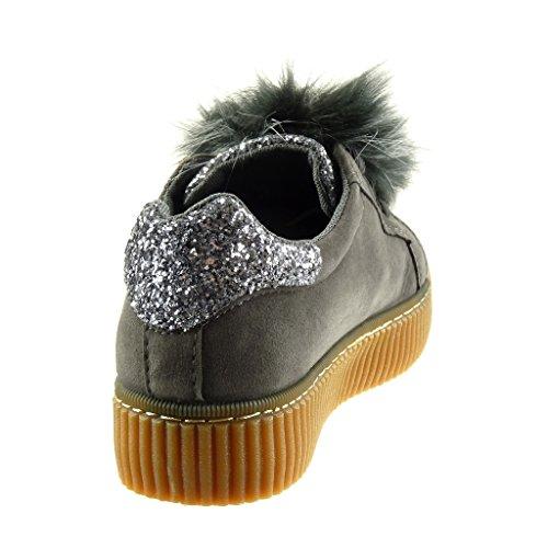 da 3 bi strass Angkorly Scarpe Sneaker pelliccia materiale donna zeppe Grigio impunture 5 tacco cuciture CM piatto Tacco Moda finitura Ca5W1W