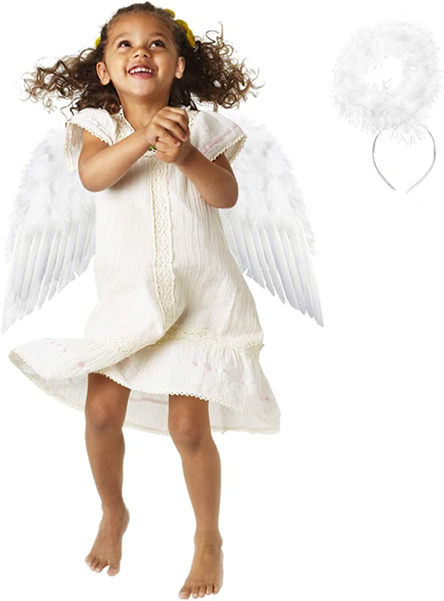 Angel Wings and Halo Headband Halloween Christmas for Kids Costumes Feather Dress up Fancy Cosplay Party