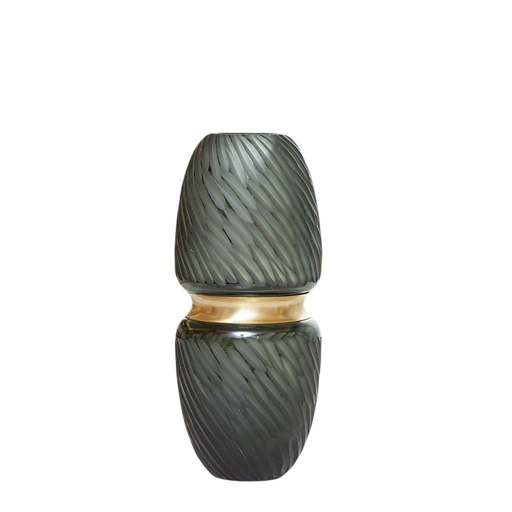 MAHONGQING 花瓶ヨーロッパガラスグラデーション花瓶装飾水文化リビングルームフラワーテレビキャビネットポーチワインキャビネットフラワーホームデコレーション (Size : M) B07RZ79P3T  Medium