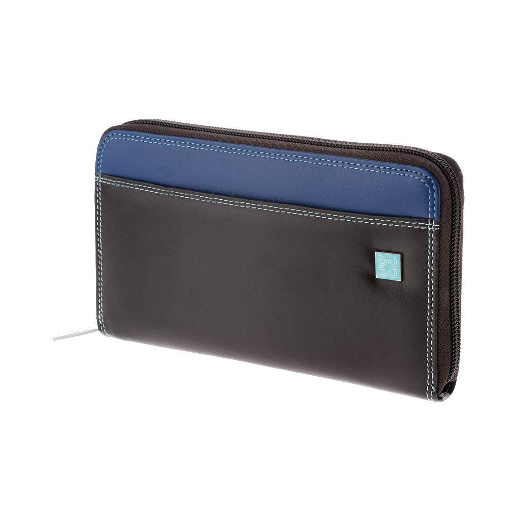 Large woman's coloured wallet in leather with DUDU zip around Woods